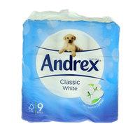 Andrex Classic White Toilet Tissue 9 Rolls