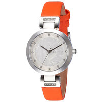 Giordano Women's Watch Analog Display Silver White Dial Orange Satin Strap - 2784-03