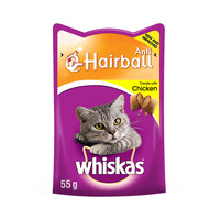 WHISKAS® Anti-hairball with Chicken Cat Treats 55g