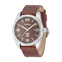 Timberland Men's Watch Jaffrey Analog Brown Dial Brown Leather Band 46mm Case