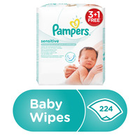 Pampers Sensitive Baby Wipes, 3+1, 224 Count