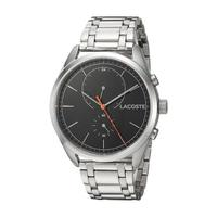 Lacoste Men's Watch San Diego Analog Black Dial Silver Stainless Steel Band 44mm  Case