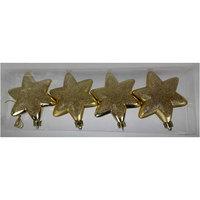 Christmas Deco Set Round Hexagonal Star 4Pcs/7Cm Gold