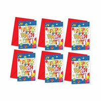 Decorata Kokliko Happy Birthday Invitation Cards And Envelopes Blue 6 Pieces