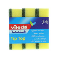 Vileda Tip Top Dish Washing Medium Foam Sponge Scourer 3Pcs