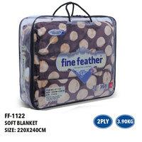 Fine Feather 2 ply embossed blanket 3.5kg FF-1122-BK
