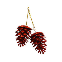 Pine Cone With Glitter Red Set Of 2