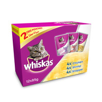 Whiskas Purrfectly Selection (Chicken Shrimp & Snapper) Wet Cat Food Pouch 85g x12 Multipack