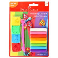 Faber-Castell 8 Modeling Clay 100G Mold & T00L