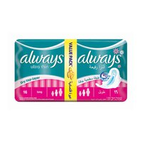 Always Ladies Pads Thin Long Value Pack 16 Napkins