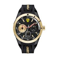Scuderia Ferrari Men's Watch RERET Analog Black Dial Black Silicon Band 44mm Case