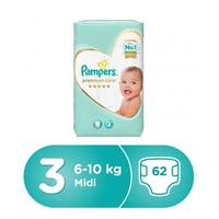 Pampers Premium Care Diapers Size 3 Midi 6-10 kg Giant Pack 62 Count