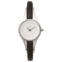 Obaku Women's  Watch V110 Analog White Dial Black Leather Band 24mm Silver Case