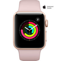 Apple Watch Series-3 38mm Gold Aluminium Case With Pink Sport Band