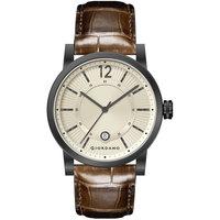 Giordano Men's Watch Analog Display Champagne Dial Brown Genuine Leather Strap Strap - 1834-04