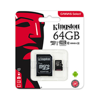 Kingston Micro SD Card 64GB Canvas Class 10 + Adapter