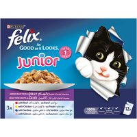 Purina felix  Junior As Good as it Looks Mixed Selection Wet Cat Food Pouch 100gx12