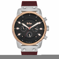 Lee Cooper Men's Multi-Function Silver Case Maroon Leather Strap Black Dial -LC06191.558