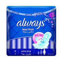 Always Ladies Pads Maxi Thick Extra Long Wings 8 Napkins