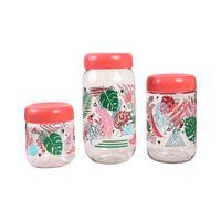 Renga Glass Jar Set Of 3 Pieces