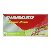 Diamond Zipper Sandwich Bags 100 Bags
