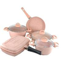 Granite 9Pcs Pink Double FryPan Cooking Set