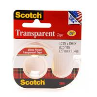"3M Scotch Transparent Tape With Dispenser 1/2""X450"""
