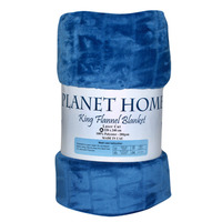Planet Home Flannel Blanket 220X240 Navy
