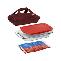 Pyrex Portables Glass Bakeware Set 4 Pieces With Carrier