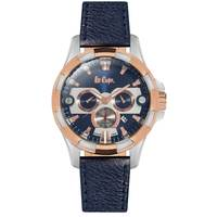 Lee Cooper Men's Multi-Function Silver Case Blue Leather Strap Blue Dial -LC06248.599