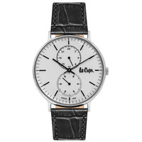 Lee Cooper Men's Analog Silver Case Black Leather Strap White Dial -LC06381.331