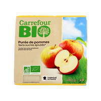 Carrefour Bio Organic Apple sauce No Added Sugar 100g x4