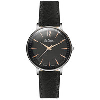 Lee Cooper Women's Watch Analog Display Black Dial Black Leather Strap - LC06378.361