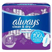 Always Mesh Ultra Thin, Large sanitary pads with wings, 8 count