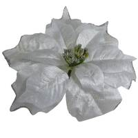 Christmas Fabric Flower With Clip 22Cm Silver