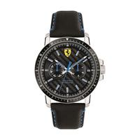 Scuderia Ferrari Men's Watch Turbo Analog Black Dial Black Leather Band 42mm Case