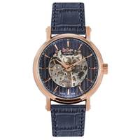 Lee Cooper Men's Automatic Rose Gold Case Blue Leather Strap Blue Dial -LC06379.499