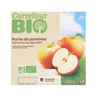 Carrefour Bio Organic Apple sauce No Added Sugar 100g x4