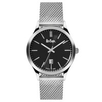 Lee Cooper Men's Analog Silver Case Silver Super Metal Strap Black Dial -LC06291.350