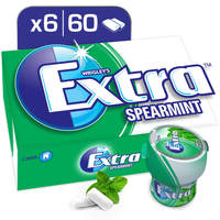 Wrigley's Extra Gum Spearmint, Bottle, 6 x 60 pellets