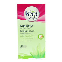 Veet Dry Skin Wax Strips With Easy Grip 20 Pieces