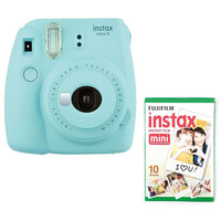 Fujifilm Instant Film Camera Instax Mini 9 Ice Blue + Single Pack Film