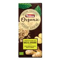 Torras Organic Dark Chocolate with Maca and Gluten Free Ginger Tablet 100g