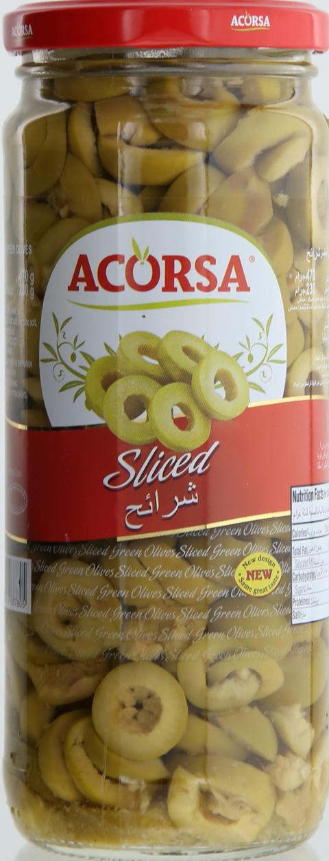 Acorsa-Sliced-Green-Olives-470g