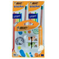 BIC 2 Evolution Stripes B12 + Mini plast Eraser