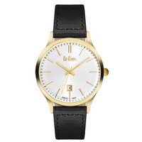 Lee Cooper Men's Analog Gold Case Black Leather Strap Silver Dial -LC06290.131