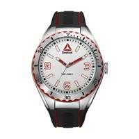 Reebok Men's Watch Emom 1.0 Analog White Dial Black and Red Silicon Band 48mm  Case