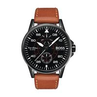 Hugo Boss Men's Watch Aviator Analog Black Dial Brown Leather Band 44mm  Case