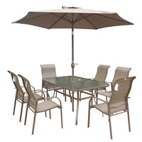 Textilene Patio Set Brown 8pcs Without Umbrella Base