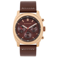 Giordano Men's Watch Multi Function Display Brown Dial Brown Genuine Leather Strap - 1751-02